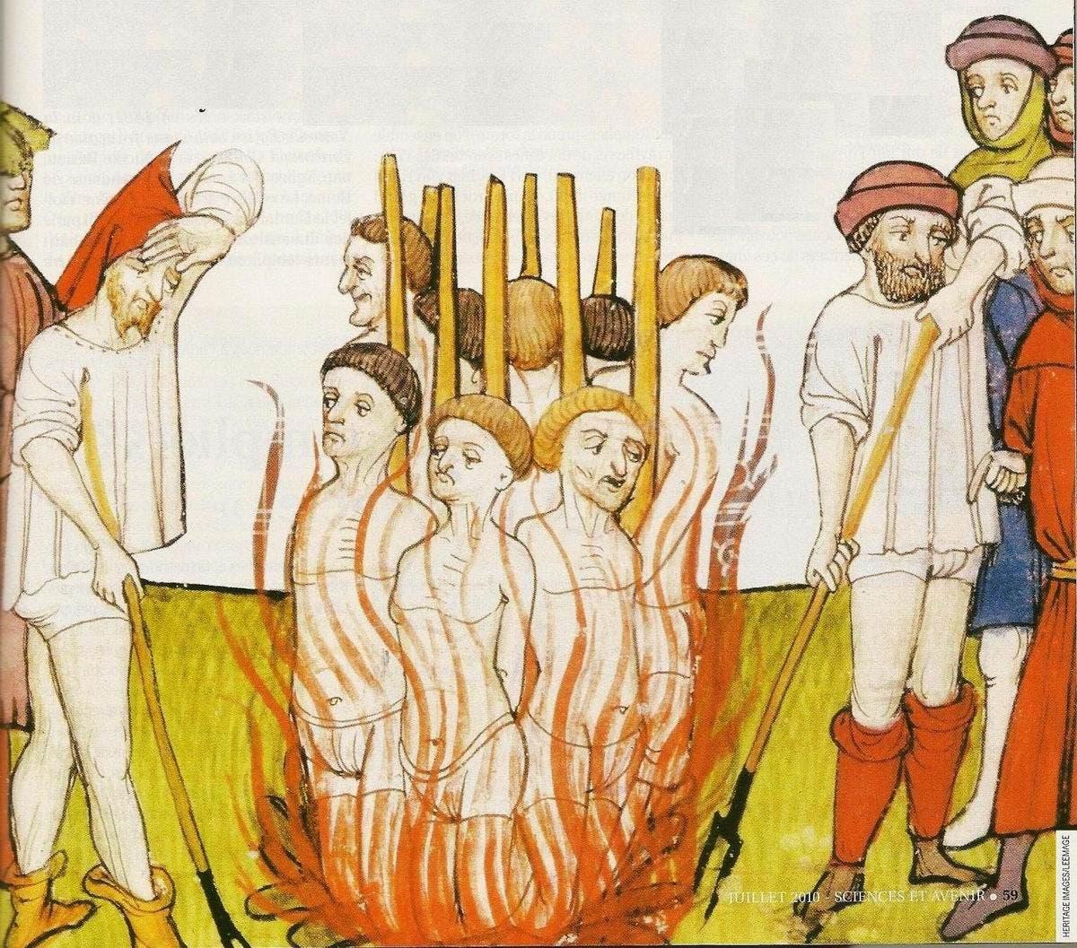 رسم تخيلي لإحدى عمليات الإعدام حرق بالقرون الوسطى