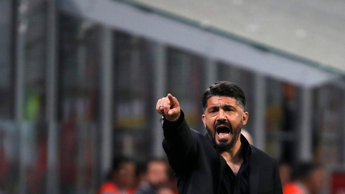 Gennaro Gattuso gives instructions during a match between AC Milan and Bologna in Milan on May 6, 2019. (AP)