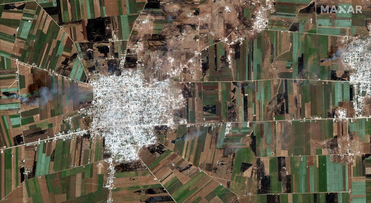 A satelite overview image of Kafr Nabudah that shows damaged and destroyed buildings, Idlib Province. (Reuters)