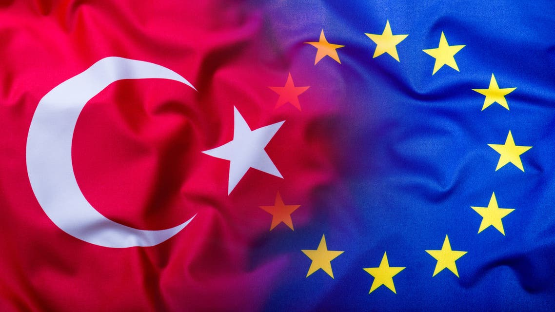Flags of the Turkey and the European Union.Flag money concept - Stock image