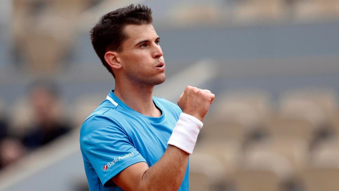 Dominic Thiem reacts after winning his match against Alexander Bublik in Paris on May 30, 2019. (Reuters)
