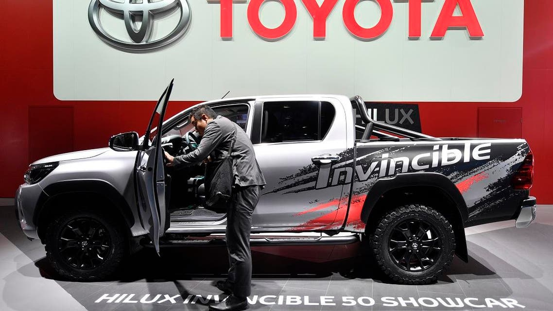 A man looks at a Toyota Hilux Invincible 50 Showcar on the first media day of the International Frankfurt Motor Show IAA in Frankfurt, Sept. 12, 2017. (AP)