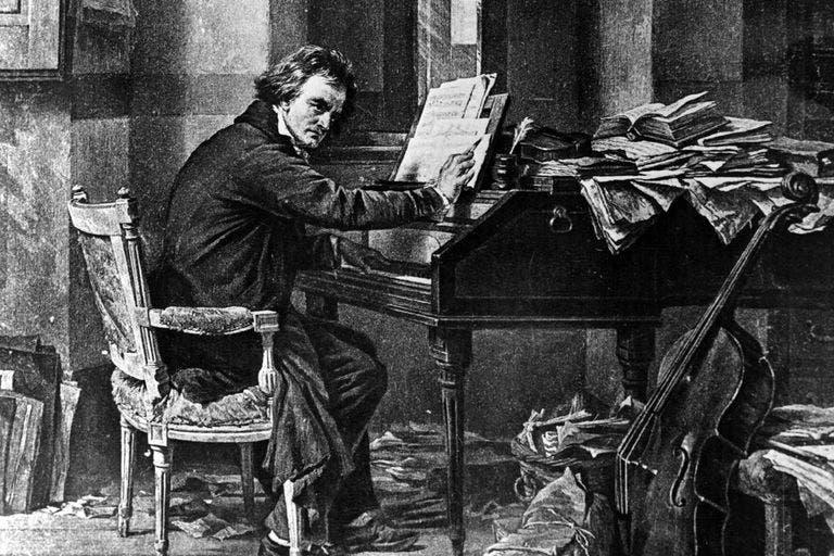 رسم تخيلي لبيتهوفن أثناء كتابته لإحدى القطع الموسيقية