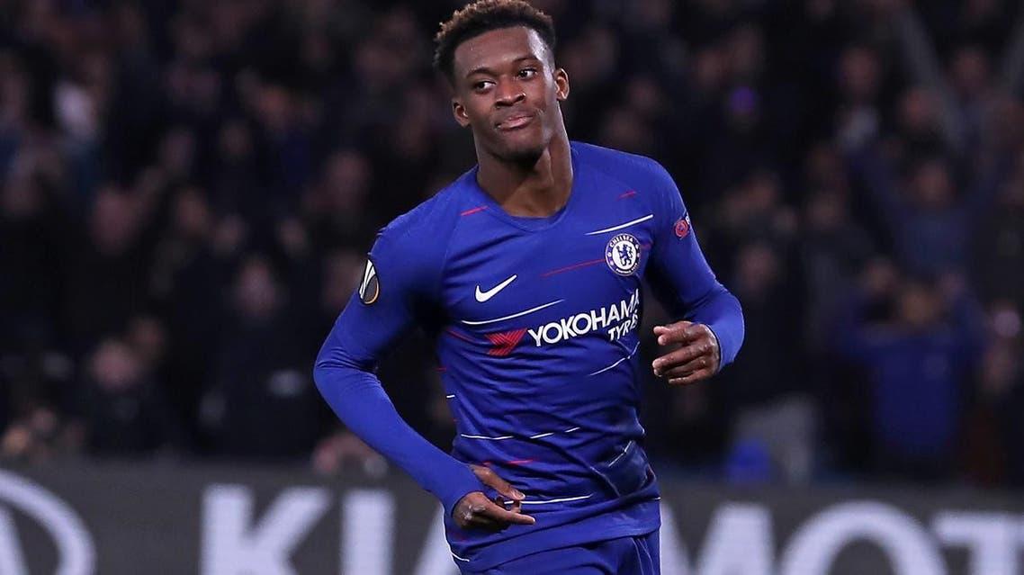 Chelsea's English midfielder Callum Hudson-Odoi celebrates after scoring a goal. (AFP)