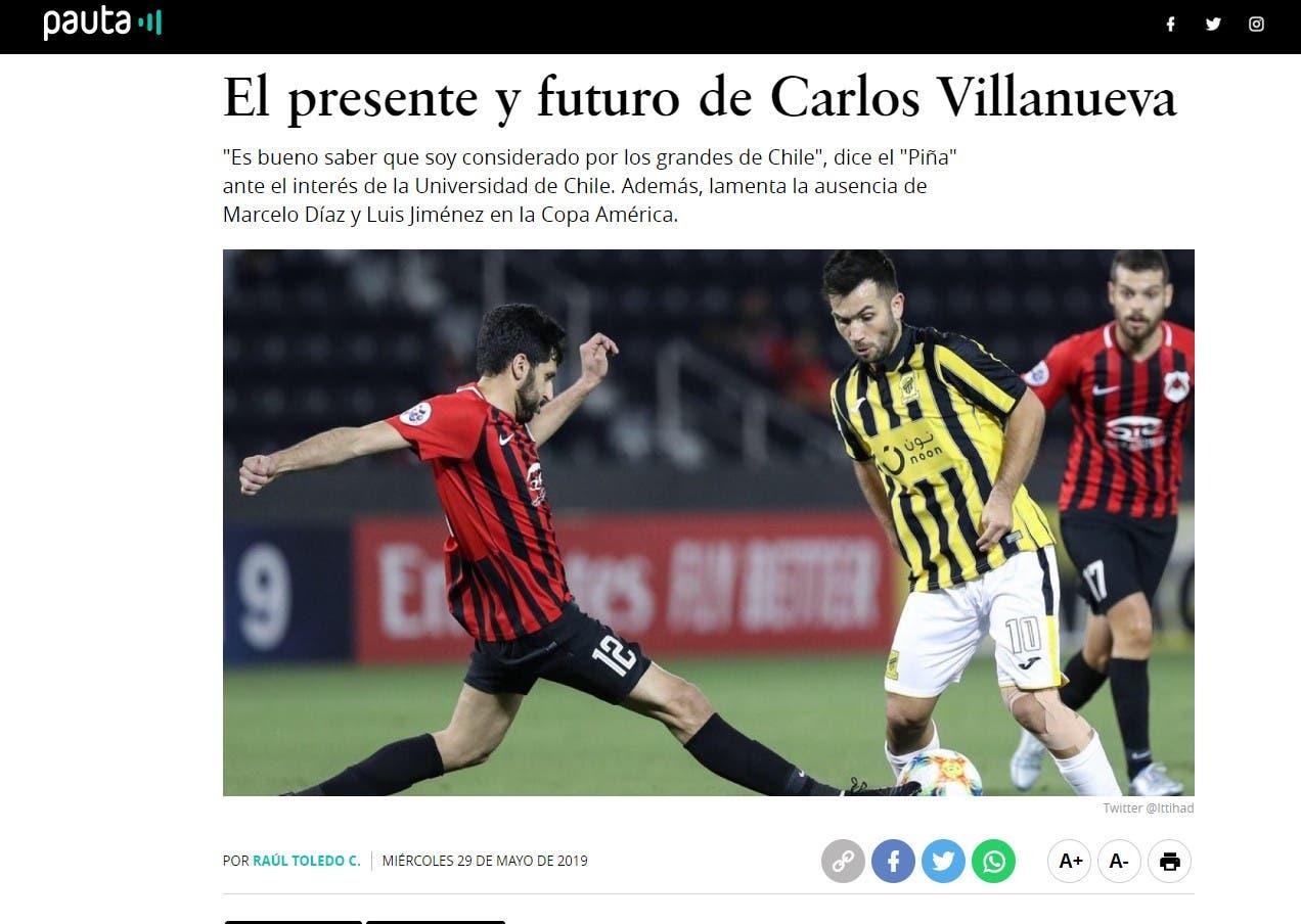 """مقابلة فيلانويفا مع صحيفة """" pauta"""" التشيلية"""