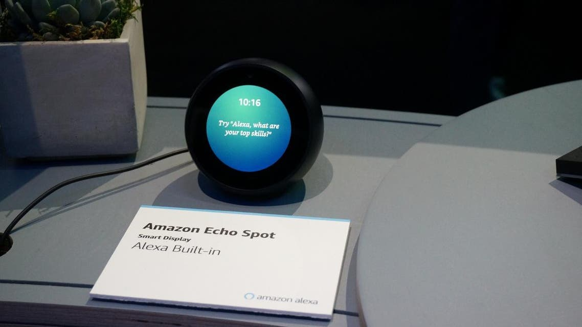 Amazon's Echo Spot device powered by its Alexa digital assistant is seen at the Consumer Electronics Show in Las Vegas on January 11, 2019. (AFP)