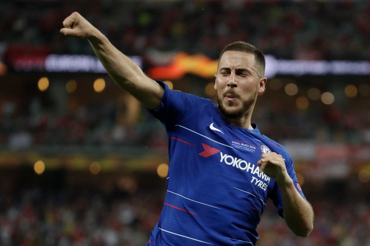 Chelsea's Eden Hazard celebrates after scoring his side's fourth goal during the Europa League Final soccer match between Arsenal and Chelsea at the Olympic stadium in Baku, Azerbaijan, Wednesday, May 29, 2019. (AP)