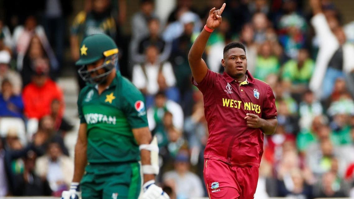 West Indies' Oshane Thomas celebrates taking the wicket of Pakistan's Wahab Riaz in their World Cup opener at Trent Bridge on May 31, 2019. (Reuters)