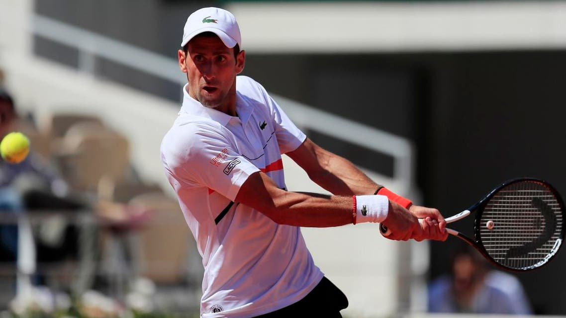 Serbia's Novak Djokovic in action during his third round match against Italy's Salvatore Caruso at the French Open, Roland Garros, Paris, on June 1, 2019. (Reuters)