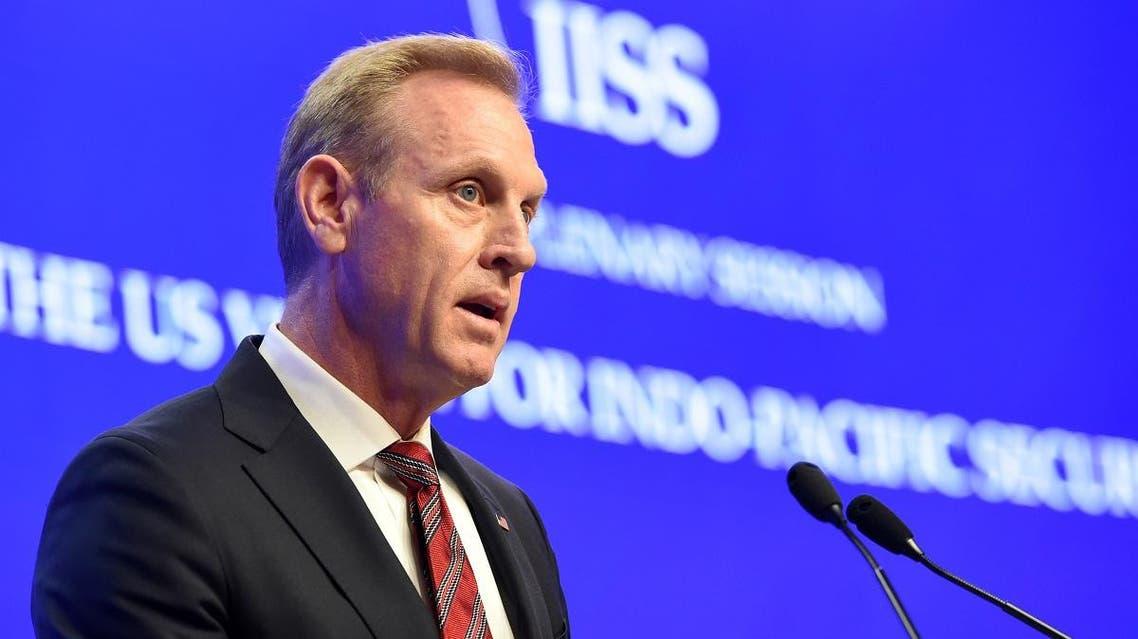 Acting US Secretary of Defense Patrick Shanahan speaks at the IISS Shangri-La Dialogue summit in Singapore on June 1, 2019. (AFP)