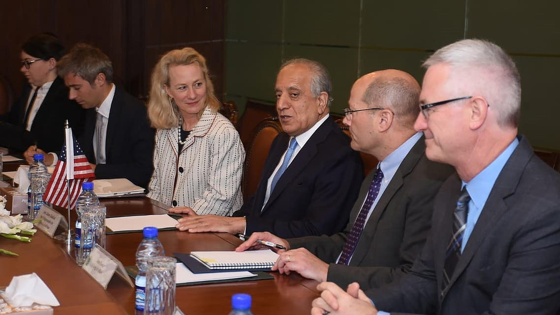 Deputy Assistant US Secretary of State for South and Central Asian Affairs Alice Wells (3L), and US envoy Zalmay Khalilzad -- the US Special Representative for Afghanistan Reconciliation (3R) talk with Pakistan's Foreign Affairs Additional Secretary Aftab Khokhar (unseen) at the Foreign Ministry in Islamabad. (AP)