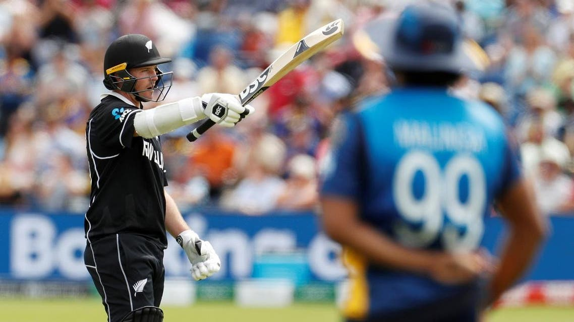 New Zealand's Colin Munro celebrates reaching a half century against Sri Lanka during the ICC Cricket World Cup  at Cardiff Wales Stadium, Cardiff, Britain on June 1, 2019. (Reuters)