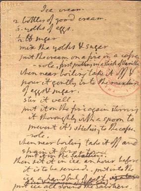 وصفة مثلجات مكتوبة بخط يد توماس جيفرسون