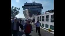 Venice cruise ship loses control, slams wharf and tourist boat