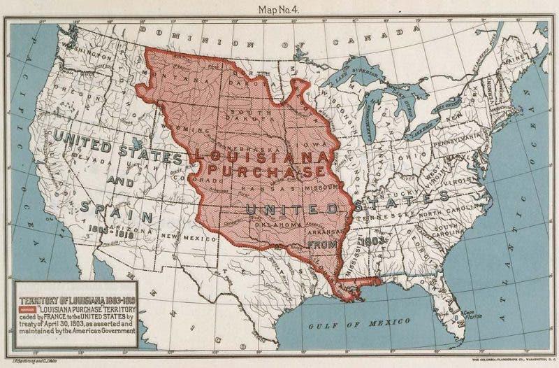 خريطة المناطق التي تخلت عنها فرنسا ضمن صفقة بيع لويزيانا