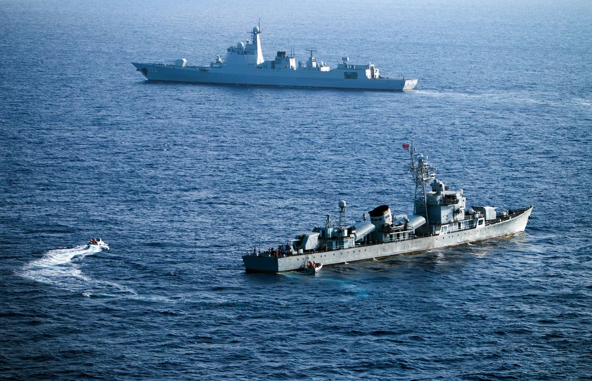 Crew members of China's South Sea Fleet taking part in a drill in the Paracel Islands on May 5, 2016. (AFP)