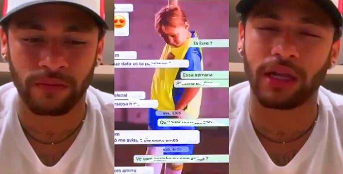 نيمار كما ظهر بالفيديو، وكما ظهرت عبارات محت منها العربية.نت ما يمكن ترجمته