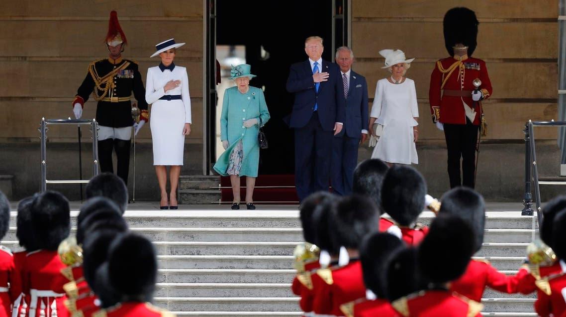 Donald Trump, Melania Trump UK visit, Queen Elizabeth - London - AP