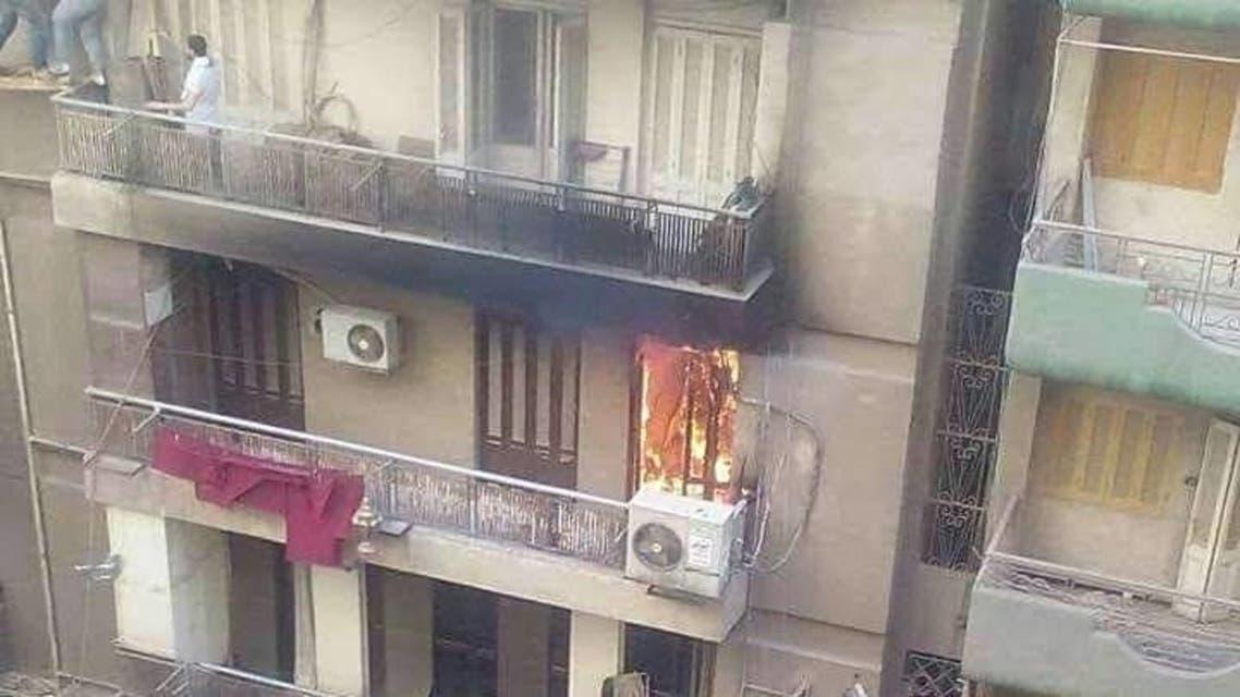 الشقة خلال الحريق