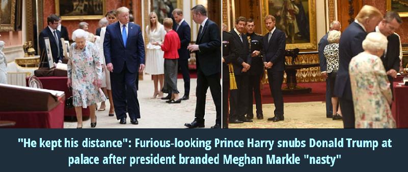 كان الأمير هاري بعيداً عن ترمب دائماً، متجهماً لا يكلم إلا زوجته وابنته