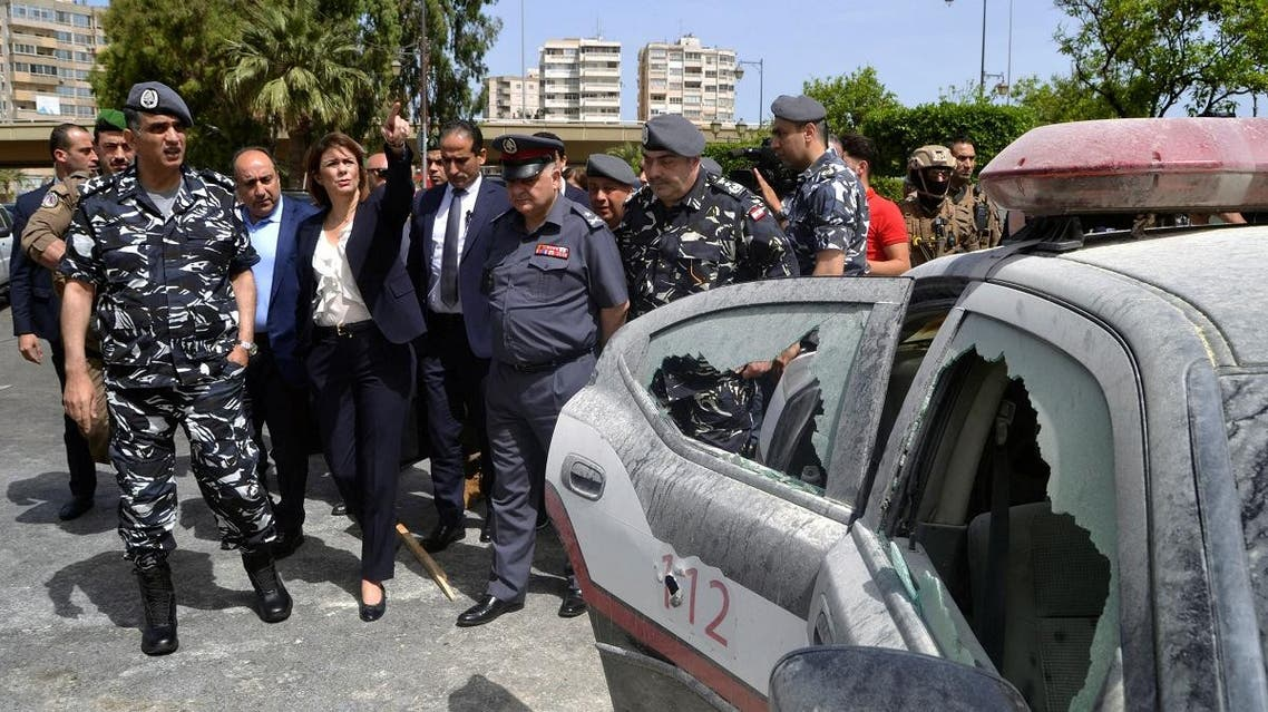 Lebanon's Interior Minister Raya al-Hassan visits the scene where a militant attacked a security forces patrol on Monday night, in Lebanon's northern city of Tripoli, Lebanon June 4, 2019. (Reuters)