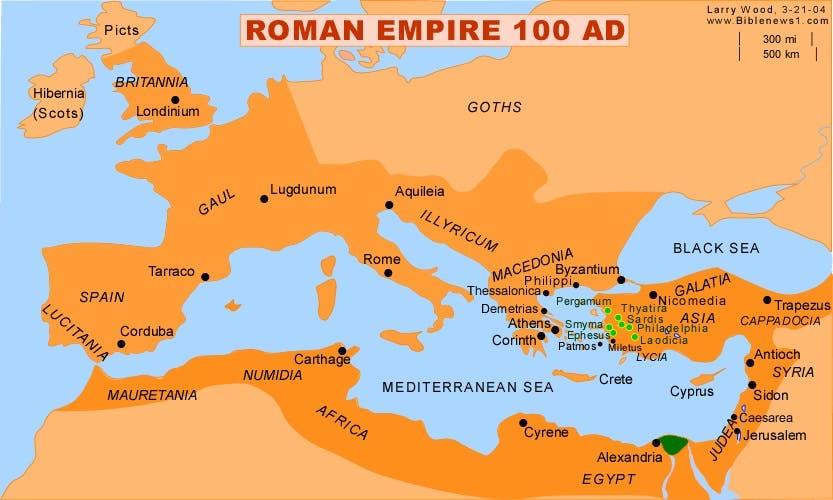 خريطة روما مطلع القرن الثاني بعد الميلاد