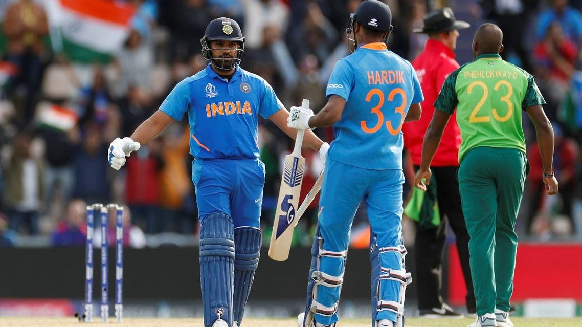 India's Rohit Sharma and Hardik Pandya celebrate at the end of the match against South Africa, at The Ageas Bowl, Southampton, Britain, on June 5, 2019. (Reuters)