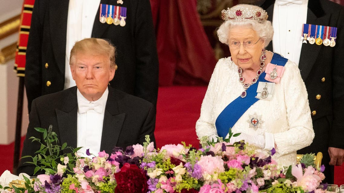 Britain's Queen Elizabeth and President Trump at the State Banquet at the Buckingham Palace on June 3, 2019. (Reuters)
