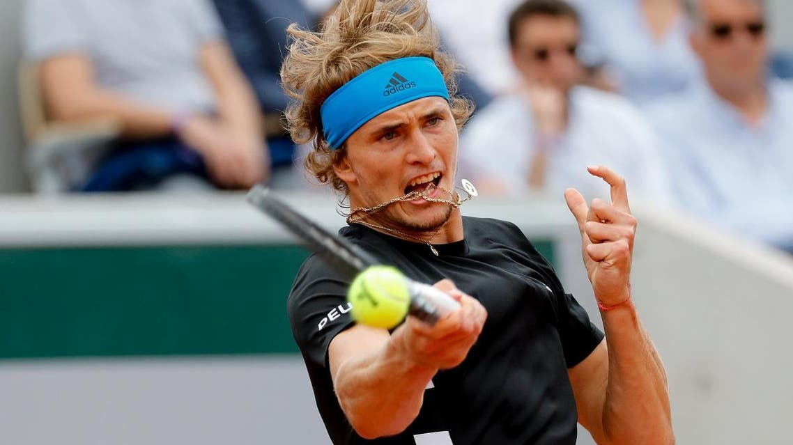 Alexander Zverev returns the ball to Fabio Fognini during their men's singles fourth round match on day nine of The Roland Garros 2019 French Open tennis tournament in Paris on June 3, 2019. (AFP)