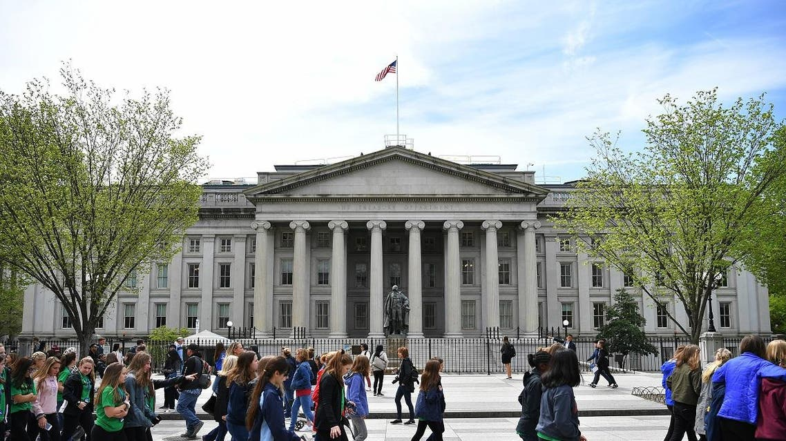 A view of the US Treasury building in Washington, DC. (AFP)