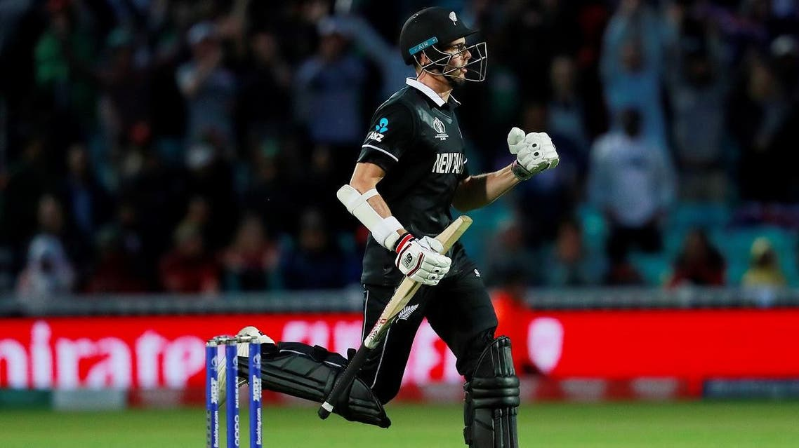 New Zealand's Mitchell Santner celebrates at the end of the match against Bangladesh at The Oval in London during the ICC World Cup on June 5, 2019. (Reuters)