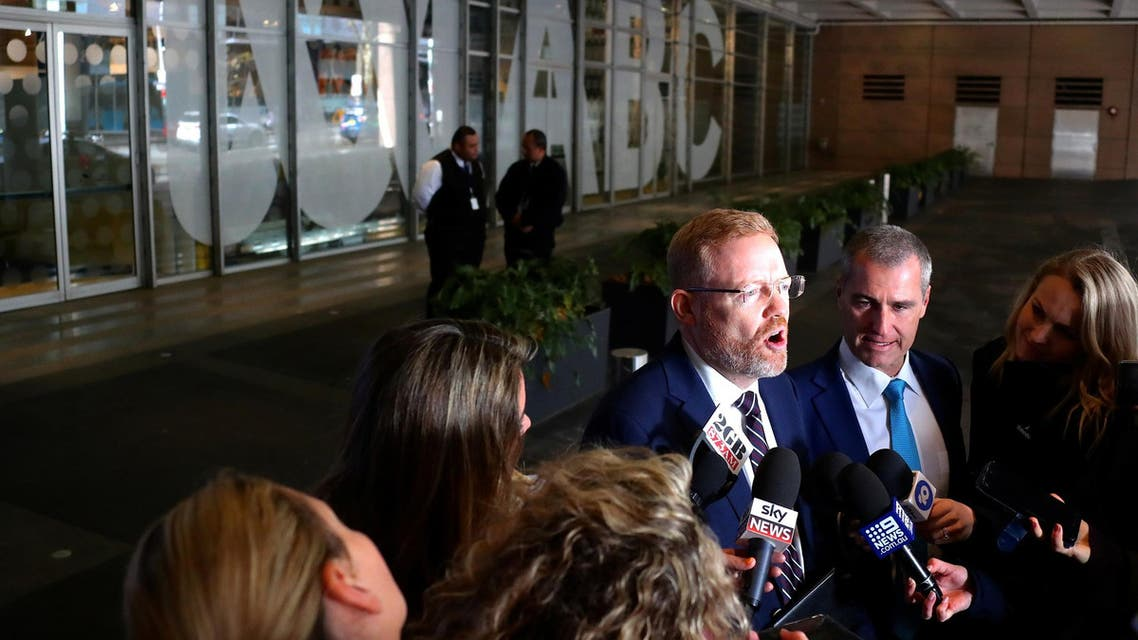 Editorial Director of ABC, Craig McMurtie, speaks to the media outside the ABC building in Sydney on June 5, 2019. (Reuters)