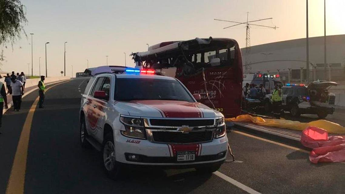 This image released by Dubai Police Headquarters shows the aftermath of a bus crash on Friday, June 7, 2019, in Dubai, UAE. (AP)