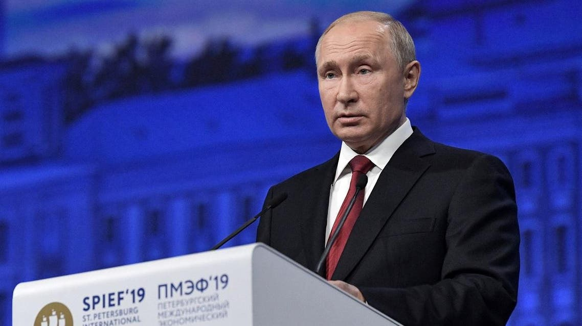Russian President Vladimir Putin delivers a speech during a session of the St. Petersburg International Economic Forum (SPIEF), Russia June 7, 2019. (Reuters)