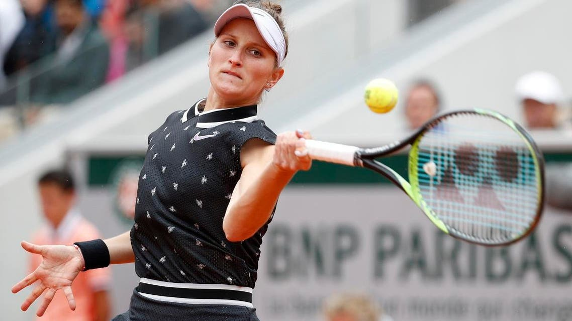 Marketa Vondrousova of the Czech Republic in action during her semifinal match against Britain's Johanna Konta at the French Open, Roland Garros, Paris, France, on June 7, 2019. (Reuters)