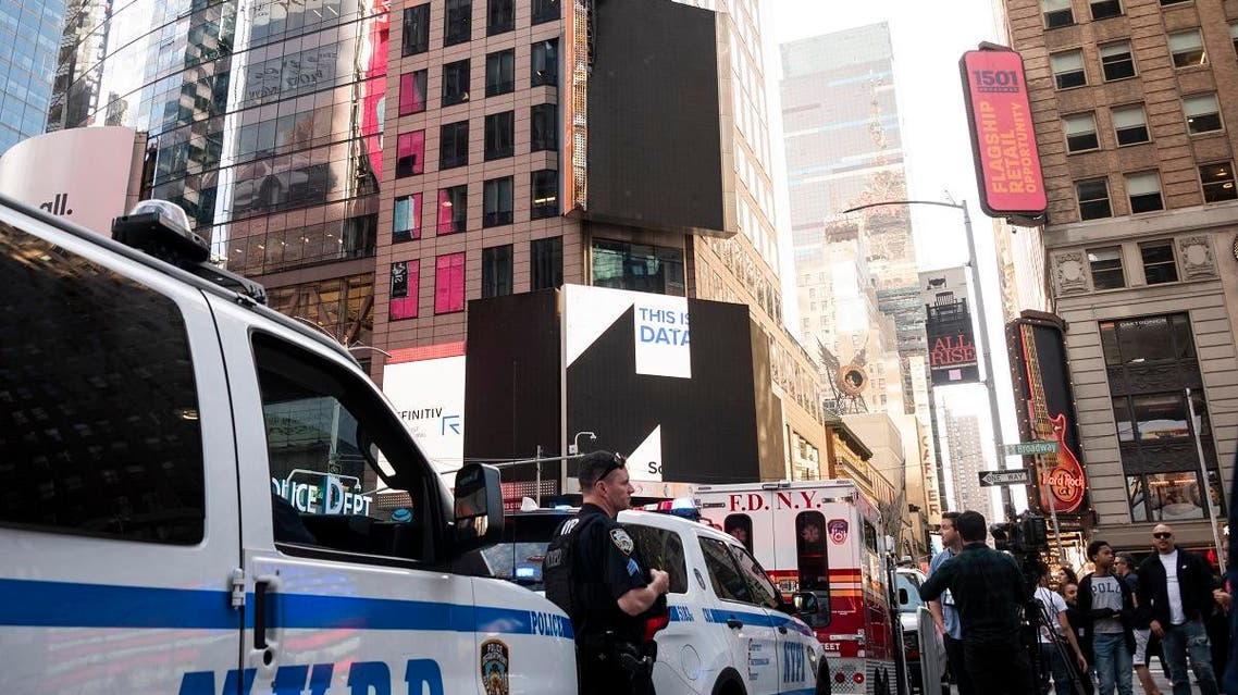 A file photo of a NYDP police officer in Times Square on May 18, 2019 in New York City. (AFP)