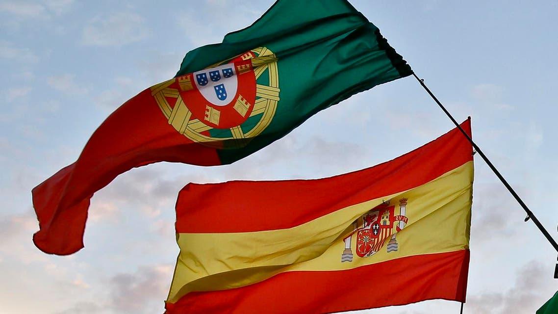 Spain Portugal flag - AP