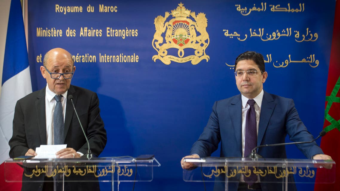 Moroccan Foreign Minister Nasser Bourita (R) meets his French counterpart Jean-Yves Le Drian in Rabat on june 8, 2019.