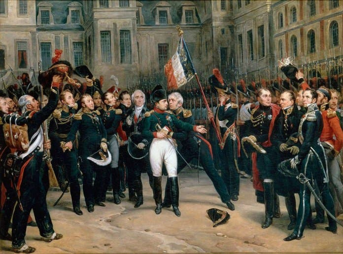 لوحة زيتية تجسد نابليون بونابرت وهو يودع الحرس الإمبراطوري