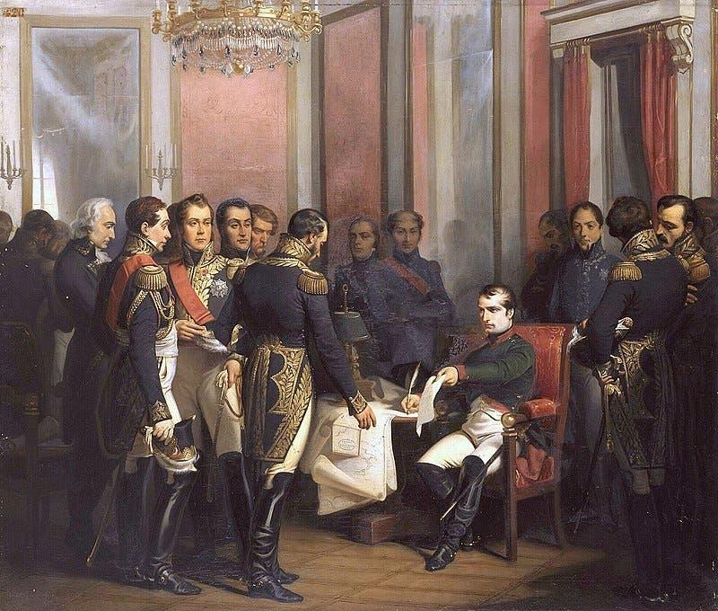 لوحة زيتية تجسد نابليون بونابرت عقب توقيعه على وثيقة تنحيه عن العرش