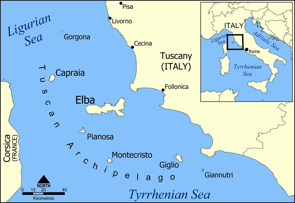 خريطة تجسد موقع جزيرة إلبا