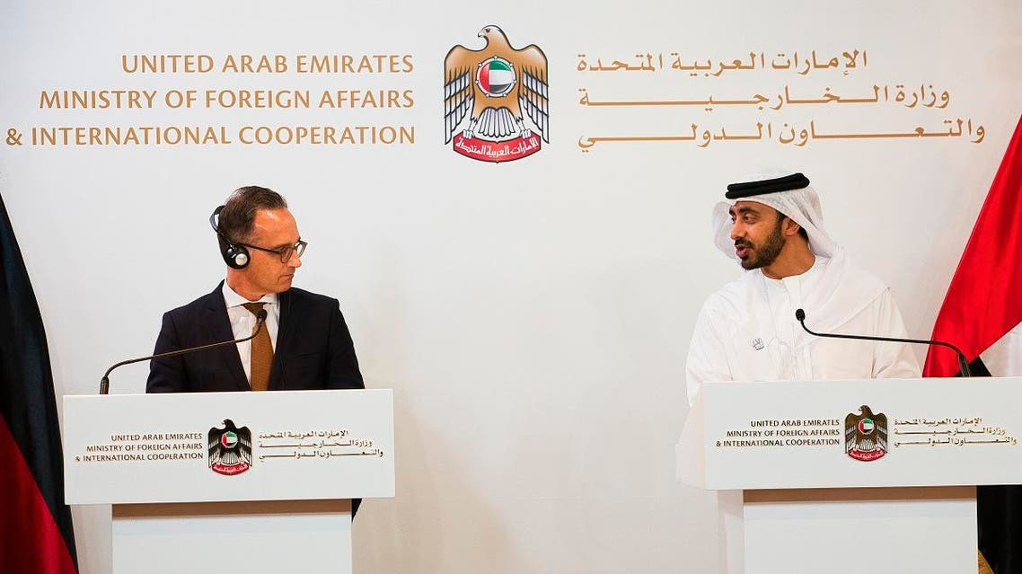 German Foreign Minister Heiko Maas, left, ends a news conference with foreign minister of the United Arab Emirates, Sheikh Abdullah bin Zayed Al Nahyan, in Abu Dhabi, United Arab Emirates, Sunday, June 9, 2019. (AP)