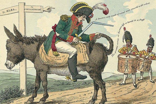 كاريكاتير ساخر حول نابليون بونابرت عقب تحوله لإمبراطور لجزيرة إلبا