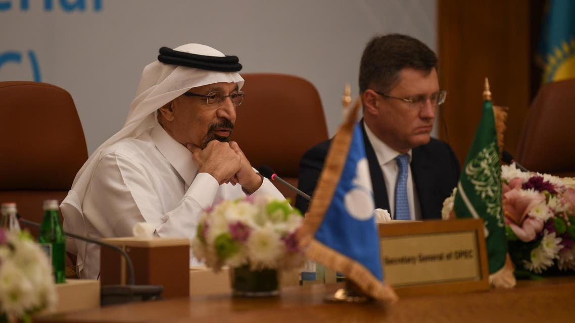 Saudi Arabian Energy Minister Khalid al-Falih and Russian Energy Minister Alexander Novak. (File photo: AFP)
