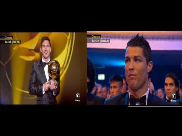 رد فعل رونالدو بعد فوز ميسي بالكرة الذهبية 2015