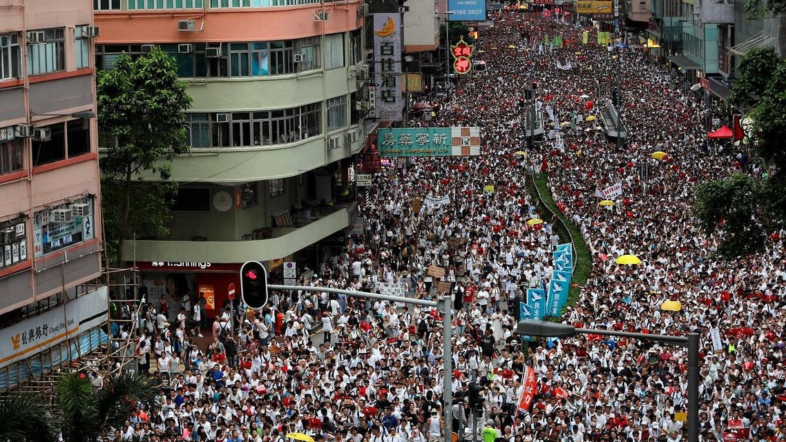protesters gather against extradition in Hong Kong. (Reuters)