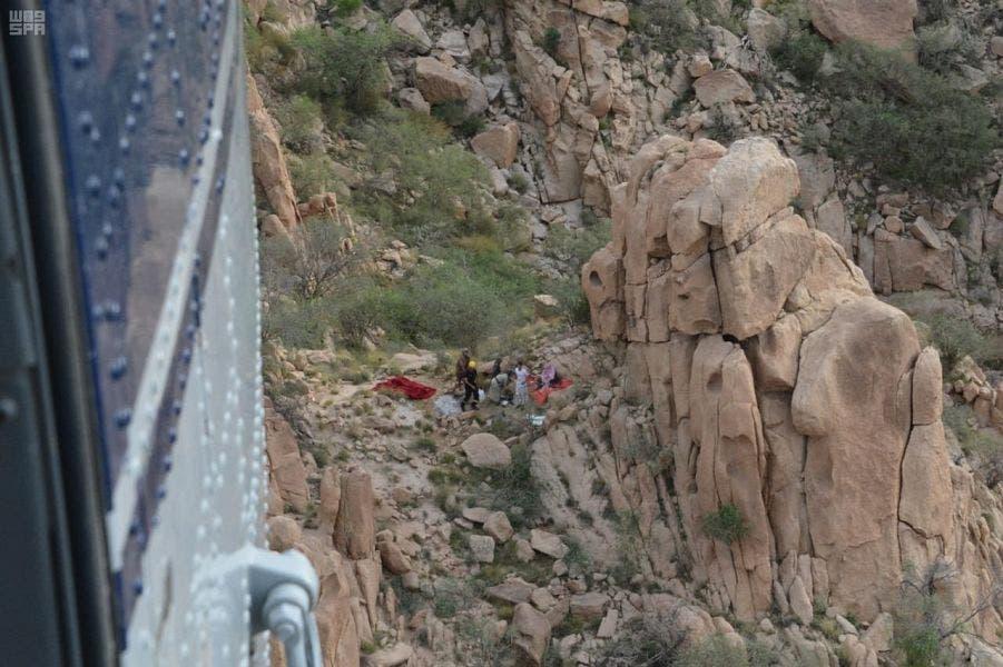 مكان سقوط الرجل المسن في جبال الطائف