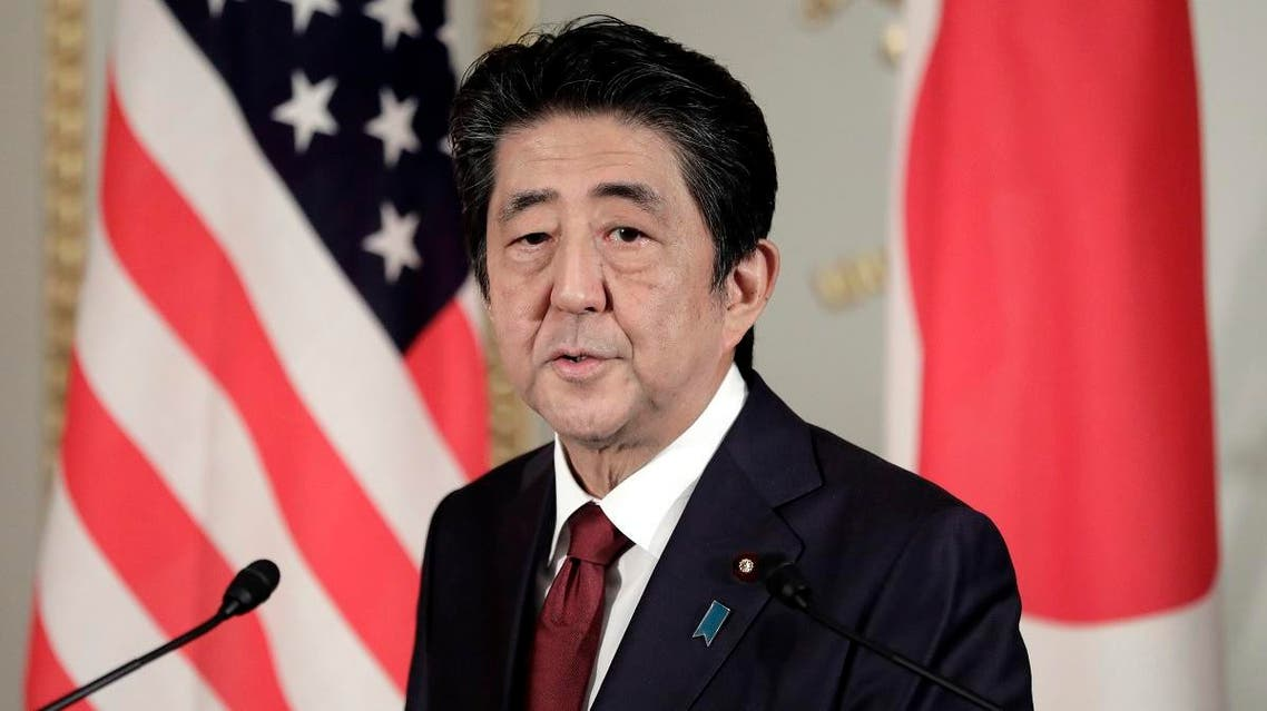 Japan's Prime Minister Shinzo Abe speaks during a joint press conference with US President Donald Trump (not pictured) at Akasaka Palace in Tokyo on May 27, 2019. (AFP)