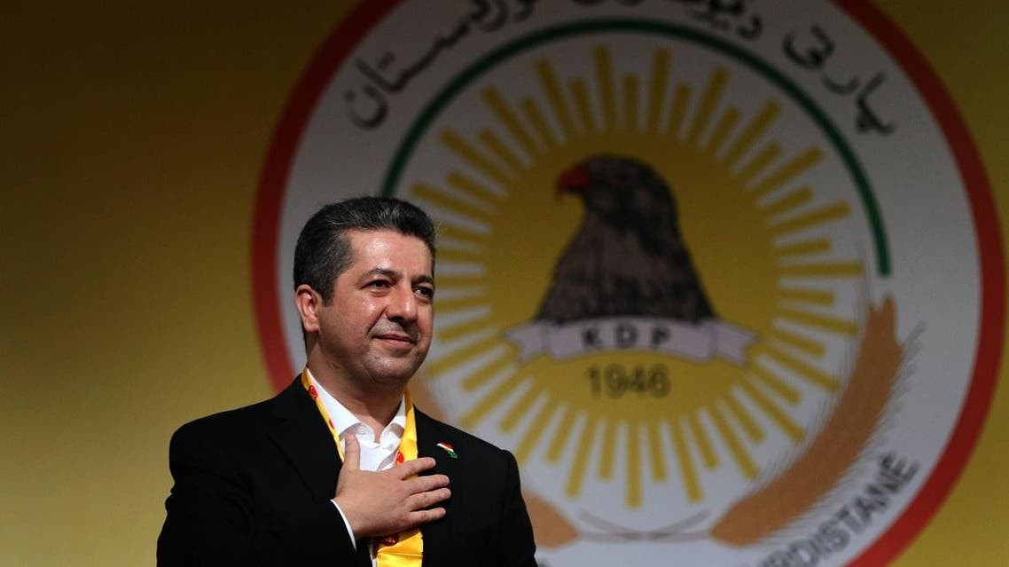 Masrour Barzani speaks during an electoral rally for the Kurdistan Democratic Party (KDP) list, in Arbil, the capital of the northern Iraqi Kurdish autonomous region. (File photo: AFP)