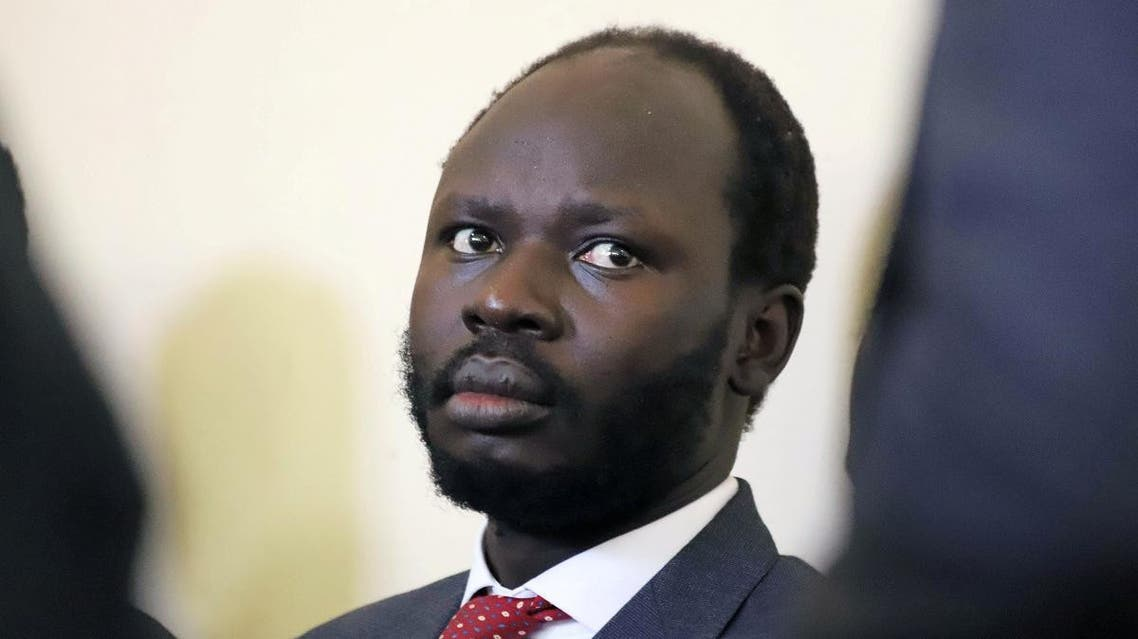 Peter Biar Ajak sits in the dock inside the courtroom in Juba, June 11, 2019. (Reuters)
